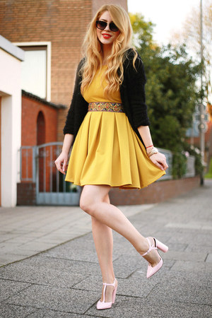 light pink Zara shoes - yellow Finezze dress - black Sheinside cardigan