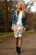blue leather TB Dress jacket - black Zara shoes - turquoise blue Sheinside skirt