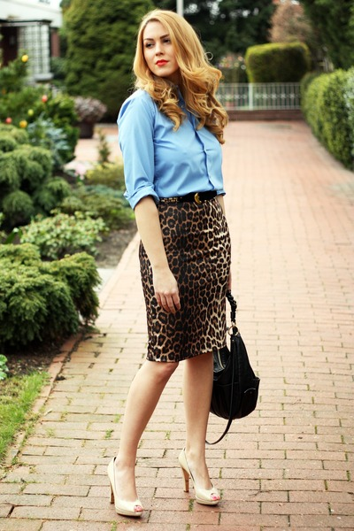leopard pencil Primark skirt - sky blue random shirt - black heloise Chloe bag