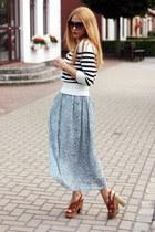 paisley print H&M skirt - Missoni sunglasses - brown suede Esprit sandals