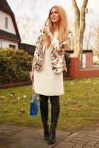 off white tbdress blazer - cream Promod dress - blue random brand bag