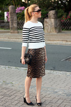 leopard print Primark skirt - striped random brand sweater - black Fendi bag