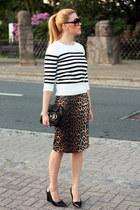 leopard print Primark skirt - striped random brand sweater - black Fendi bag