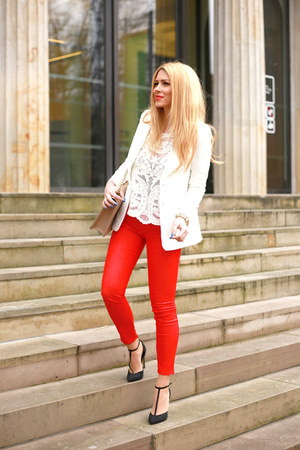white Front Row Shop blazer - ruby red united colors of benetton jeans