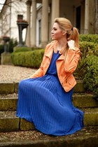 carrot orange PERSUNMALL jacket - blue Sheinside dress