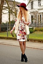 black Zara shoes - cream Choies dress - crimson random brand hat