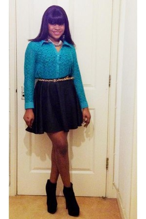 skater skirt new look skirt - ankle boots Topshop boots - blouse top