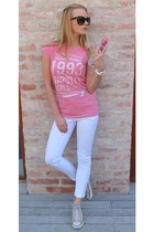 black H&M sunglasses - white H&M pants - light pink Converse sneakers