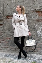 off white trench Promod coat - black 100den H&M tights - eggshell Mango bag