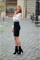 black Bershka boots - white H&M sweater - black H&M skirt