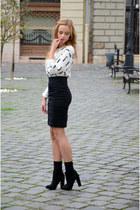 black Bershka boots - white H&M sweater - black H&M skirt