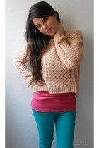 light pink chicnova sweater - turquoise blue New Yorker jeans