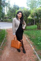 black for fashion dress - no name blazer - brown OASAP bag