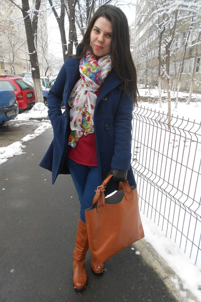 brown mixmoss bag - red thrifted sweater - pink Ebay scarf