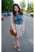 white Stradivarius dress - brown romwe bag - blue denim OASAP vest
