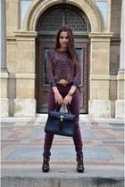 black Aldo bag - crimson knitted asos sweater - crimson New Yorker pants