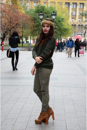 olive green knitted next sweater - tan ankle boots Jeffrey Campbell boots
