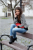 red Atmosphere bag - black knee-high boots Forever 21 boots