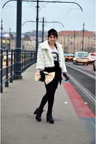 white faux fur new look coat - black ankle boots h&m divided boots