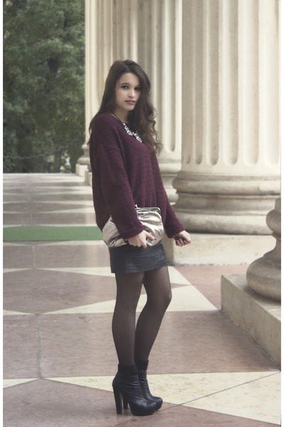 black leather vintage skirt - black ankle boots Forever 21 boots