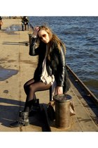black biker boots - black leather jacket H&M jacket - blue Zara shorts
