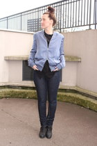 black acne boots - navy acne jeans - periwinkle acne blouse