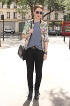 coral floral print Zara blouse - black acne boots - black acne jeans