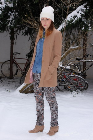 hm coat - American Apparel hat - asos pants