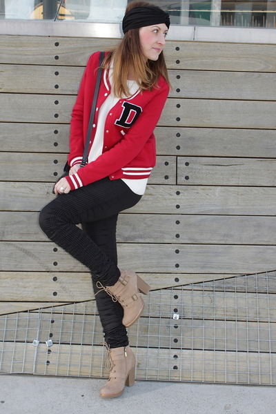 black sass & bide leggings - red Dangerfield jacket - white Sportsgirl jumper