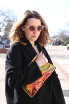 pink Stradivarius sunglasses - black COS coat - light yellow hm bag