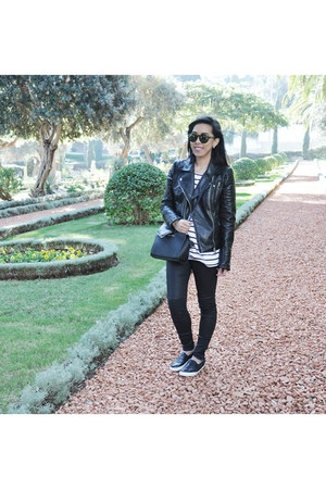 black faux leather Zara jacket - black Michael Kors bag