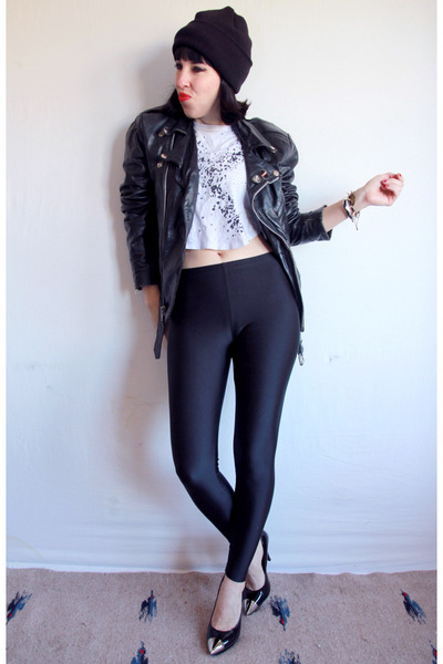 metallic tipped Jeffrey Campbell heels - black moto vintage 80s jacket