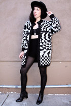 white geometric vintage sweater