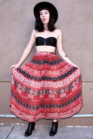 maroon cotton vintage skirt