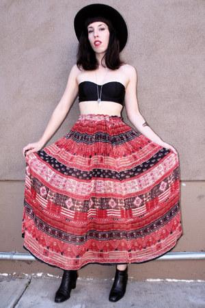 maroon cotton vintage skirt