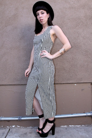 white striped vintage dress - black Jeffrey Campbell heels