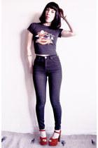 black thrifted jeans - black harley davidson Vintage Norma Kamali t-shirt