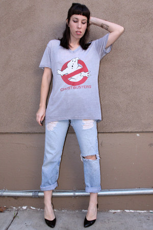 ghostbusters vintage t-shirt - light blue 501s Levis jeans