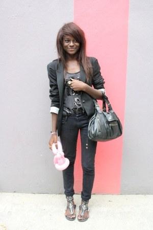 black Avant prmire jeans - black Zara blazer - black gerard darel bag