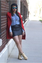 Guess coat - Forever 21 boots - Forever 21 shirt - H&M skirt