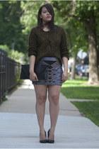 Forever 21 skirt - Forever 21 sweater - Ebay purse - Qupid heels