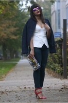 piperlime jeans - piperlime jacket - ray-ban sunglasses - Akira heels