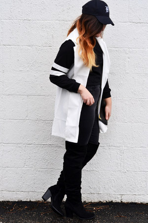 black stripes CN direct sweater - white blazer Indress vest