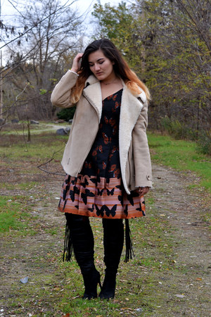 carrot orange butterfly print eShakti dress - black JustFab boots