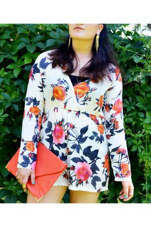 bubble gum floral print DressLink romper - orange clutch TooSexyStore bag