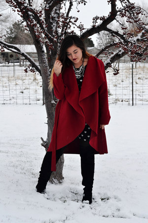 ruby red red Sheinside coat
