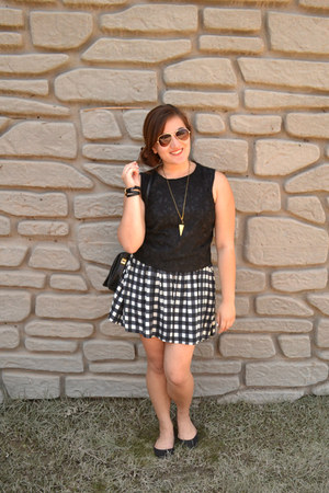 black gingham Forever 21 dress - white floral Mossimo top