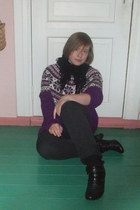 deep purple homemade sweater - black Cubus pants - black socks - black scarf - b
