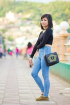black studded bag Fashion Cravings bag - dark brown shoes no brand shoes