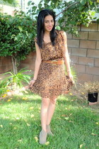 brown Joa  Closet dress - tan Shoedazzle boots - tawny H&M belt